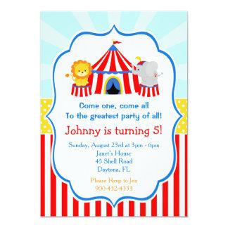 Zirkuszelt-Zirkus-Karnevals-Geburtstag im Rot Karte