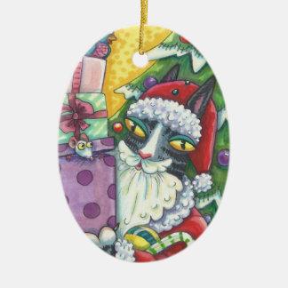Zischen N Fitz SANKT CAT-WEIHNACHTSverzierung Ovales Keramik Ornament