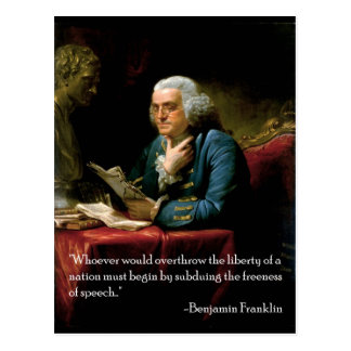 Zitat Benjamin_Franklin_1767 auf Rede Postkarte