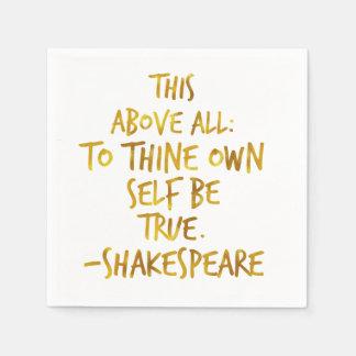 Zitat-GoldImitat-Folie Shakespeare motivierend Papierserviette