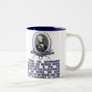 Zitat Marquisdes Lafayette auf Aufstand Zweifarbige Tasse