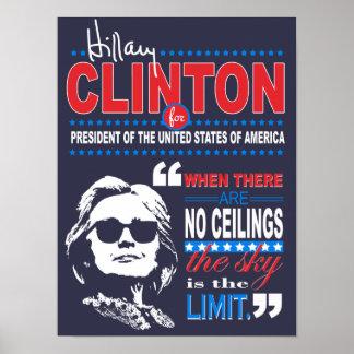 "Zitat-Plakat Hillary Clinton""Himmels die Grenze-"" Poster"