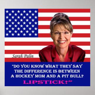Zitat Sarahs Palin - Lippenstift Poster