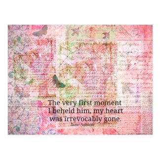 Zitat-Text KUNST Liebe Janes Austen Romance Postkarte