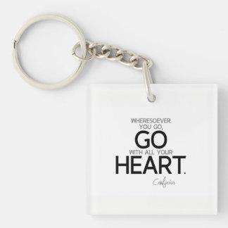 ZITATE: Konfuzius: Gehen Sie mit Ihrem Herzen Schlüsselanhänger