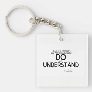 ZITATE: Konfuzius: Tun Sie und verstehen Sie Schlüsselanhänger
