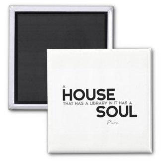 ZITATE: Plato: Haus, Bibliothek, Soul Quadratischer Magnet