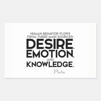 ZITATE: Plato: Wunsch, Gefühl und Wissen Rechteckiger Aufkleber
