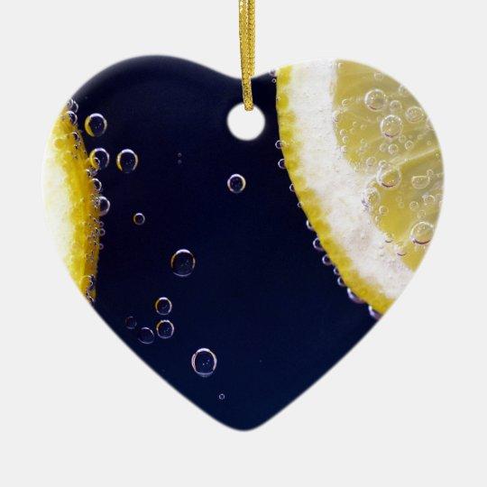 Zitrone Keramik Herz-Ornament