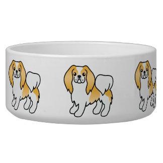 Zitrone und weißer Japanerchin-Cartoon-Hund Napf