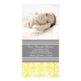 Zitronen-Grau danken Ihnen Baby-Duschen-Foto-Karte Fotokartenvorlagen