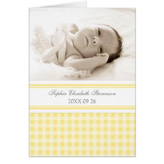 Zitronen-graue Gingham-Foto-Geburts-Mitteilung Karte
