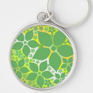 Zitronen-Limone sublime, Blumenschablone Silberfarbener Runder Schlüsselanhänger