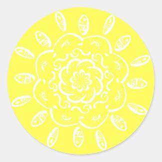 Zitronen-Mandala Runder Aufkleber