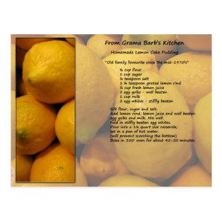 Zitronen-Rezept-Postkarte Postkarte