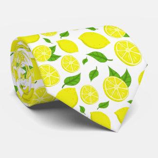 Zitronen und Grün-Blätter auf kundenspezifischem Krawatte
