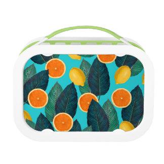 Zitronen und Orangen aquamarin Brotdose