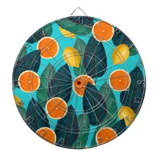 Zitronen und Orangen aquamarin Dartscheibe