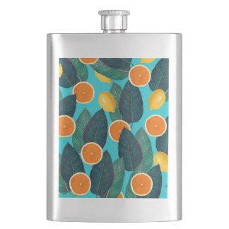 Zitronen und Orangen aquamarin Flachmann