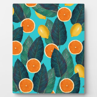 Zitronen und Orangen aquamarin Fotoplatte