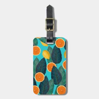 Zitronen und Orangen aquamarin Gepäckanhänger