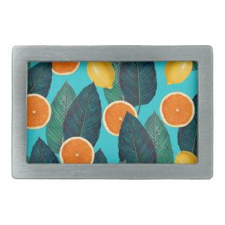 Zitronen und Orangen aquamarin Rechteckige Gürtelschnalle