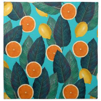 Zitronen und Orangen aquamarin Serviette