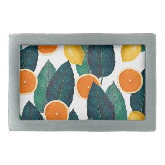 Zitronen und Orangen weiß Rechteckige Gürtelschnalle
