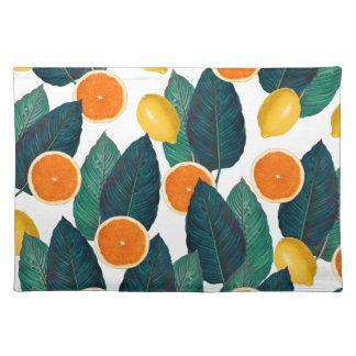 Zitronen und Orangen weiß Stofftischset