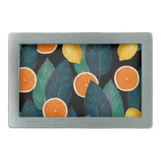 Zitronen- und Orangenschwarzes Rechteckige Gürtelschnalle