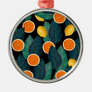Zitronen- und Orangenschwarzes Silbernes Ornament