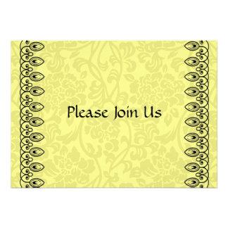 Zitronengelbe Damast-Einladung