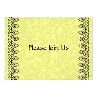 Zitronengelbe Damast-Einladung 12,7 X 17,8 Cm Einladungskarte