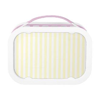 Zitronengelbe und weiße Pastellstreifen hellgelb Brotdose