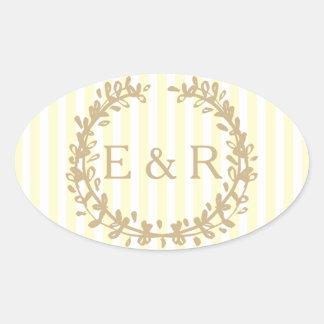Zitronengelber PastellKranz und Sprig-Hochzeit Ovaler Aufkleber