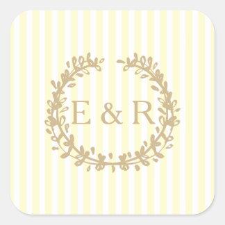 Zitronengelber PastellKranz und Sprig-Hochzeit Quadratischer Aufkleber