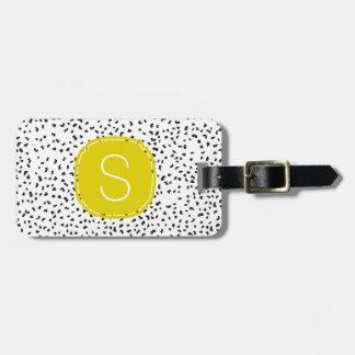 Zitronengelbes Monogramm-dalmatinische Gepäckanhänger