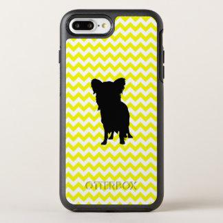 Zitronengelbes Zickzack mit Yorkie Silhouette OtterBox Symmetry iPhone 8 Plus/7 Plus Hülle