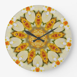 Zitrusfrucht-Blumenmuster-Fraktal Große Wanduhr