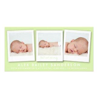 Zitrusfrucht-grüne Geburts-Mitteilung mit 3 Fotos Karte