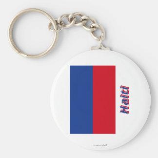 Zivile Flagge Haitis mit Namen Standard Runder Schlüsselanhänger