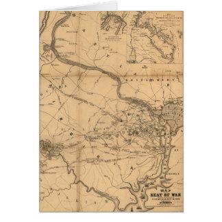 Zivile Kriegs-Karte von Kämpfen, von 21 am 18. Grußkarte