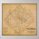 Zivile Kriegs-Karte von Washington DC 1862 Plakate