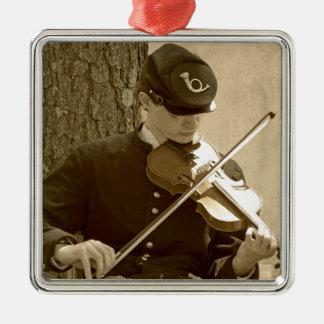 Ziviler Kriegs-Geigen-Spieler Silbernes Ornament