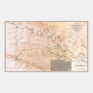 Ziviles Kriegs-Karten-Schlachtfeld von Chickamauga Rechteckiger Aufkleber