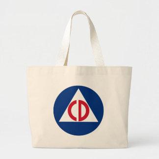Ziviles Verteidigungs-Logo-Vintages Symbol Jumbo Stoffbeutel