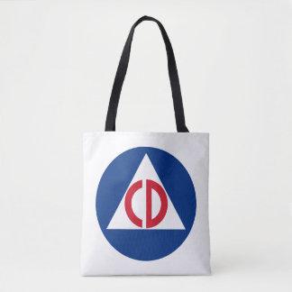 Ziviles Verteidigungs-Logo-Vintages Symbol Tasche