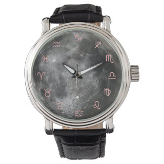 Zodiac Moon Leather Strap Watch Uhr