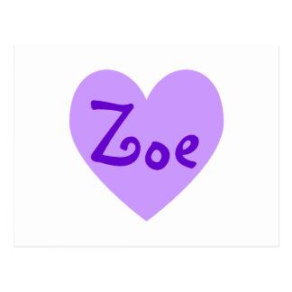 Zoe in Lila Postkarte