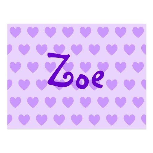 Zoe in Lila Postkarten